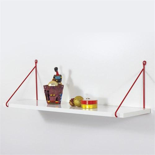 Decormet Armoni Raf ve Kitaplık Seti 1 Raflı 200X720 Kırmızı-Parlak Beyaz