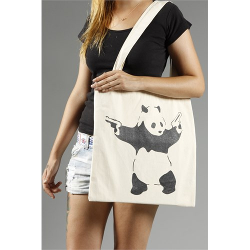 Urbangiftpanda Wıth Guns Banksy Style Cotton Tote Bag 40*40Cm