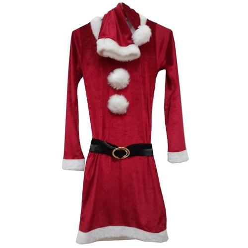 Kadife Kırmızı Bayan Yılbaşı Elbisesi M Beden
