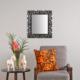 Carven Dekoratif Motifli Dikdörtgen Ayna Gri Siyah