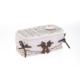 Hasır, Kapaklı Eskitilmiş Beyaz Sepet, Nokta Desenli Fiyonklu, Küçük