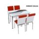 Osmanlı Mobilya Osmanlı Mutfak Masa Takımı Kırmızı Dalga Desen Masa + 6 Sandalye