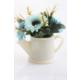 Yapay Çiçek Deposu Plastik Su Kabı Saksıda Kasımpatı Tanzimi Turkuaz