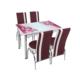 Osmanlı Mutfak Masa Takımı Masa + 6 Lale Sandalye Mürdüm Çiçek