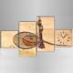 Osmanlı Tuğra - 4 Parçalı Kanvas Saat