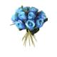 Yapay Çiçek Deposu Yapay Kaliteli 13lü Gül Buketi Mavi