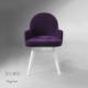 Vilinze Atlas Sandalye, 2 Adet , Mor Kumaş, Beyaz Ahşap Ayak