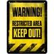 Restricted Area - Keep Out Metal Kabartmalı Pin Up Duvar Panosu