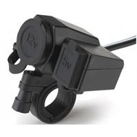 Tex 2086 Lüx Telefon Şarj Aleti USB ve Çakmak Girişli Su Geçirmez
