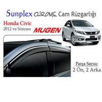 Krom Çıtalı Mugen Tip (Sunplex Chrome) Honda Civic 2012 Cam Rüzgarlığı