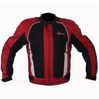 Xrider 1081 Cordure Kumaştan Üretilmiş Kısa 4 Mevsim Motosikler Montu Kırmızı