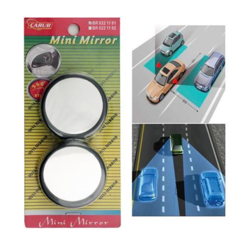 Carub Ayna Siyah Mini Yapışma 2'li Set Yuvarlak