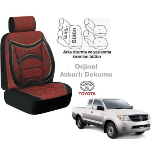 Süslenoto Toyota Hilux Pick-Up Çift Kabin 2006-2012 Bordo Oto Koltuk Kılıfı Ortopedik