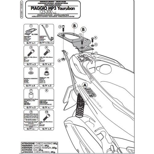 Gıvı Sr5600m Pıaggıo Mp3 Yourban 125-300 (11-15) Arka Çanta Tasıyıcı