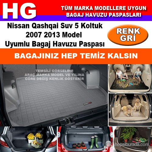 Nissan Qashqai 2007 2013 Gri Bagaj Havuzu Paspası 38937