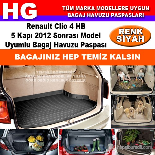 Renault Clio 4 Hb 2013 Sonrası Siyah Bagaj Havuzu Paspası 39015
