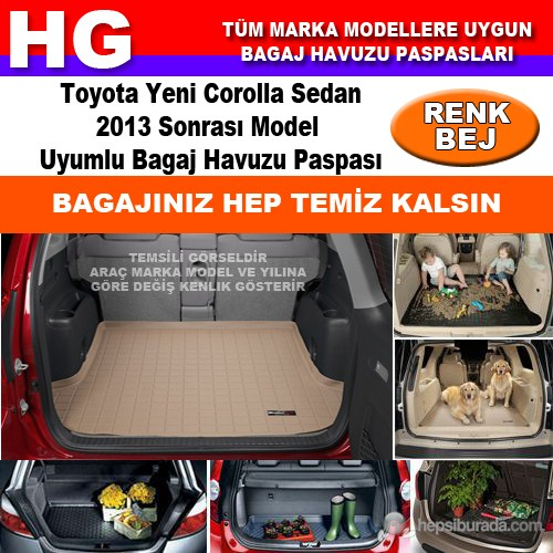 Toyota Yeni Corolla 2013 Sonrası Bej Bagaj Havuzu Paspası 39126
