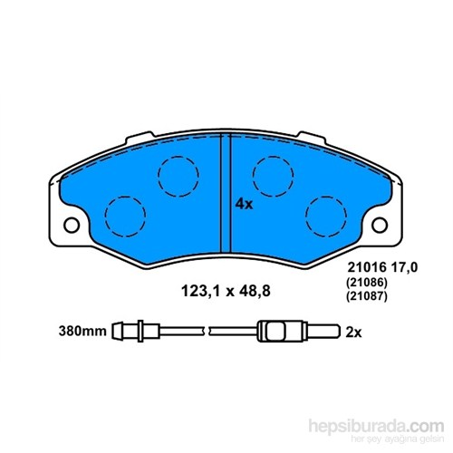 Bosch - Fren Balatası Ön Fişli (R 21 Concorde) - Bsc 0 986 560 953