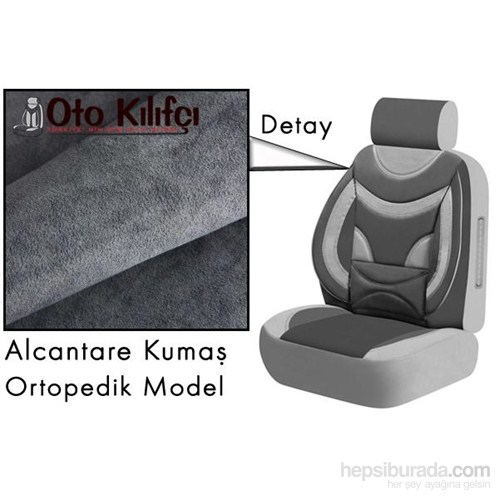 Oto Kılıf Nevoni Ortopedik Süet Oto Koltuk Kılıfı Modeli Füme Gri