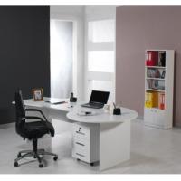 Dessenti Kristal Ofis Masası Kesonlu Beyaz