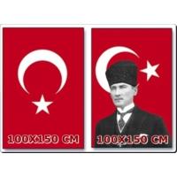 Ulu Atatürk Resimli Bayrak + Türk Bayrağı Birarada 100X150 Cm Ebatlı