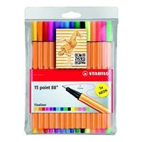 Stabilo Point 88 10 + 5 Floresan Renk Askılı Paket