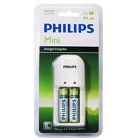 Philips SCB1292WB/12 200mAh AA/AAA 2 Lİ Şarj Cihazı, 2x AA 2450mAh Pil Birlikte,Beyaz