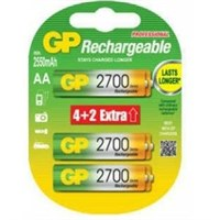 GP 6'lı (4+2) ReCyko 2700 Serisi Ni-Mh Şarj Edilebilir AA Kalem Pil (GP270AAHCE4/2BB-P6)