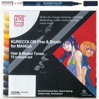 Zig Kurecolor Fine & Brush For Manga Hair & Muted Tones 12 Renk Blister Ambalaj