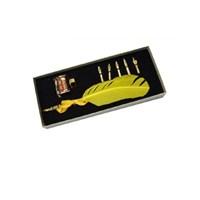 Steelpen Calligraphy Pen Set Sarı Renkli Kuş Tüyü Set Cs-0212