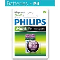Philips R03B2RTU8 AAA 800 Mah Şarj Edilebilir 2'Li İnce Kalem Pil