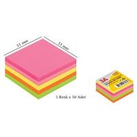 3A Yapışkanlı Kağıt Mini Küp 5 Renk x 50 Adet