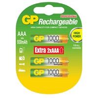 GP 6'lı (4+2) ReCyko 1000 Serisi Ni-Mh Şarj Edilebilir AAA İnce Pil (GP100AAHCE4/2BB-P6)