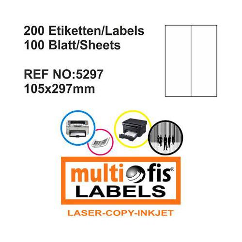 Multiofis 105X297 Mm Laser Etiket 5297