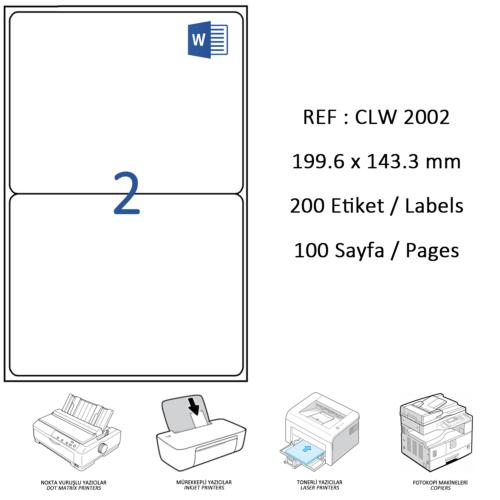 Crea Label Clw-2002 199.6 X 143.5 Mm Lazer Etiket