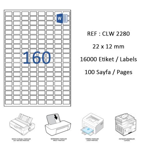 Crea Label Clw-2280 22 X 12 Mm Lazer Etiket