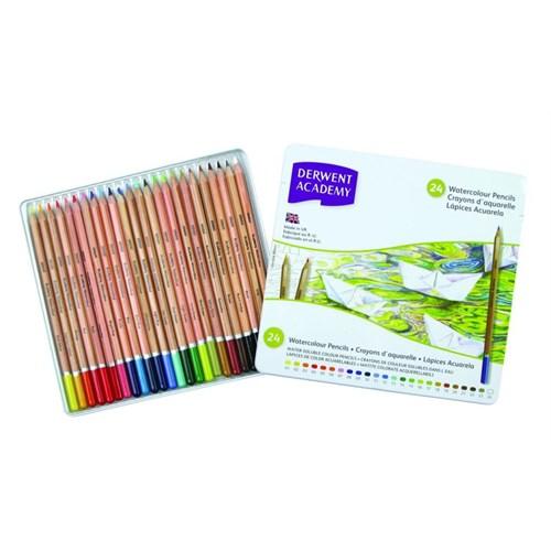Derwent Academy Watercolour Pencils Aquarel Boya Teneke Kutu 24 Renk