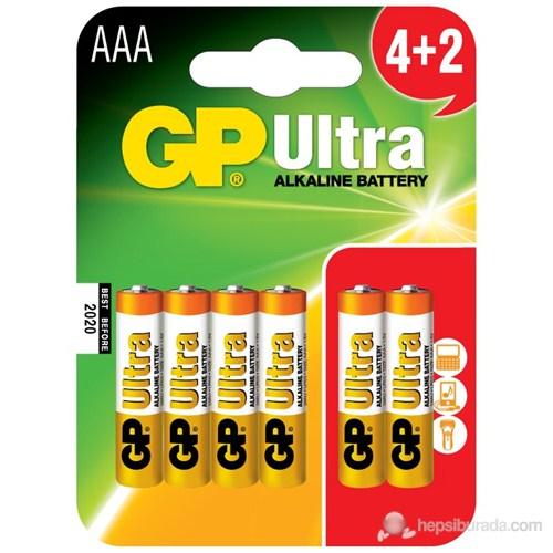 GP Ultra Alkalin 6'lı (4+2) AAA Boy İnce Pil (GP24AU4/2P6)