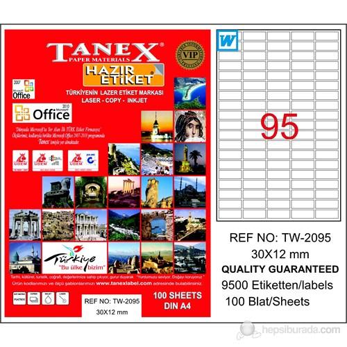 Tanex TW-2095 30x12 mm Laser Etiket 100 Ad.