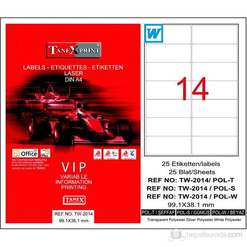 Tanex TW-2014 99,1x38,1 mm Silver (Gümüş) Laser Etiket 25 Ad.