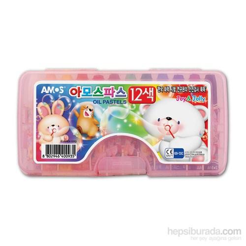 Amos Yağlı Pastel Boya Plastik Kutu 12'Li Am-501