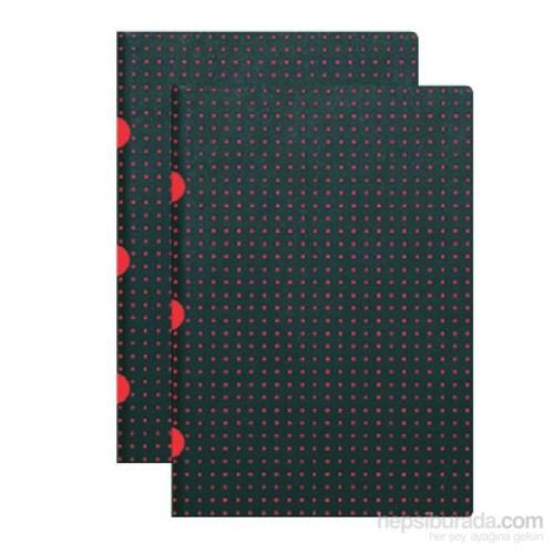 Paper-Oh 9174-5 Twin A4 Çizgili Black On Red Defter