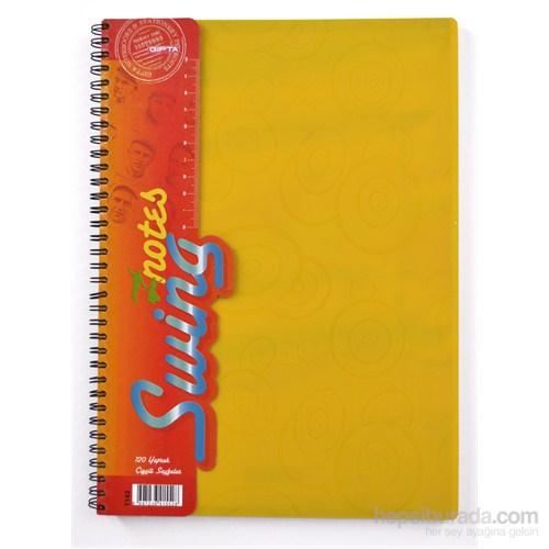 Gıpta 1142S Plastik Sarı Kapak Spiralli A4 120 Yaprak Çizgili