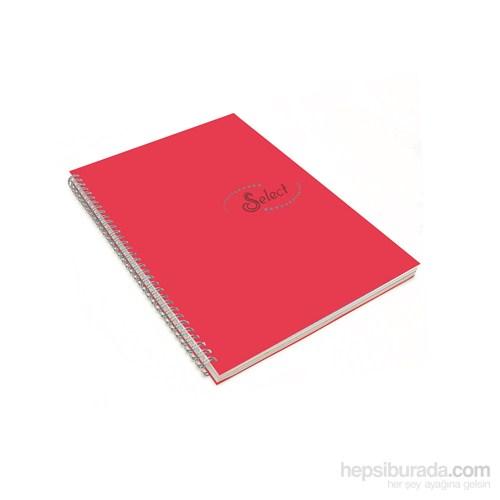 Notte 60100 Select Kırmızı Plastik Kapak Spiralli A4 80 Yaprak Kareli