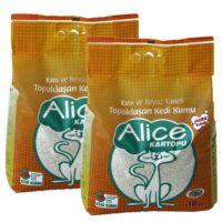 Alice Kartopu Kalın ve Beyaz Taneli Kedi Kumu 20 Kg