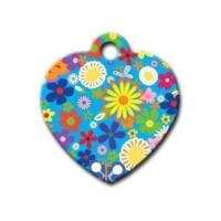 Dalis Pet Tag - Çiçek Desenli Kalp Kedi Köpek Künyesi