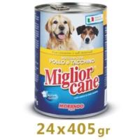 Miglior Cane Tavuklu Ve Hindili Yetişkin Köpek Konservesi 405 Gr (24 Adet)