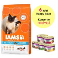 Iams Ocean Fish&Chicken Okyanus Balıklı Ve Tavuklu Yetişkin Kedi Maması 1.5Kg - 6 Adet Happy Paws Kedi Konservesi