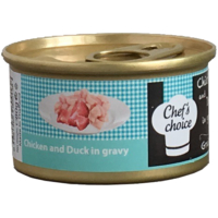 Chefs Choice Chicken With Duck İn Gravy Soslu Tavuk Ve Ördek Etli Tahılsız Kedi Konservesi 80Gr.