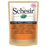 Schesir Cat 100 Gr.Pouch - Ton Balıklı,Tavuklu Ve Karidesli